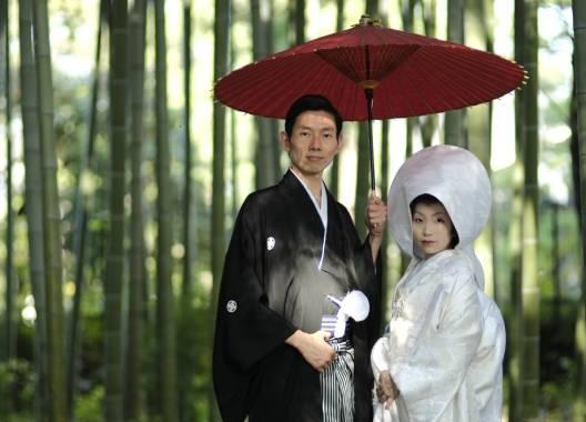 竹背景の婚礼和装ロケ