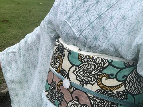 緑の麻の葉の着物